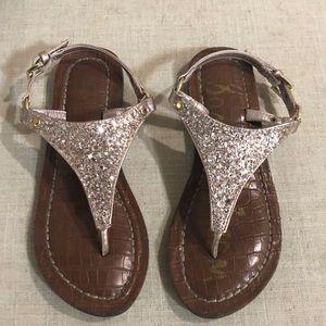 Rose gold glitter Greta sandals size 3 (wmn 5)